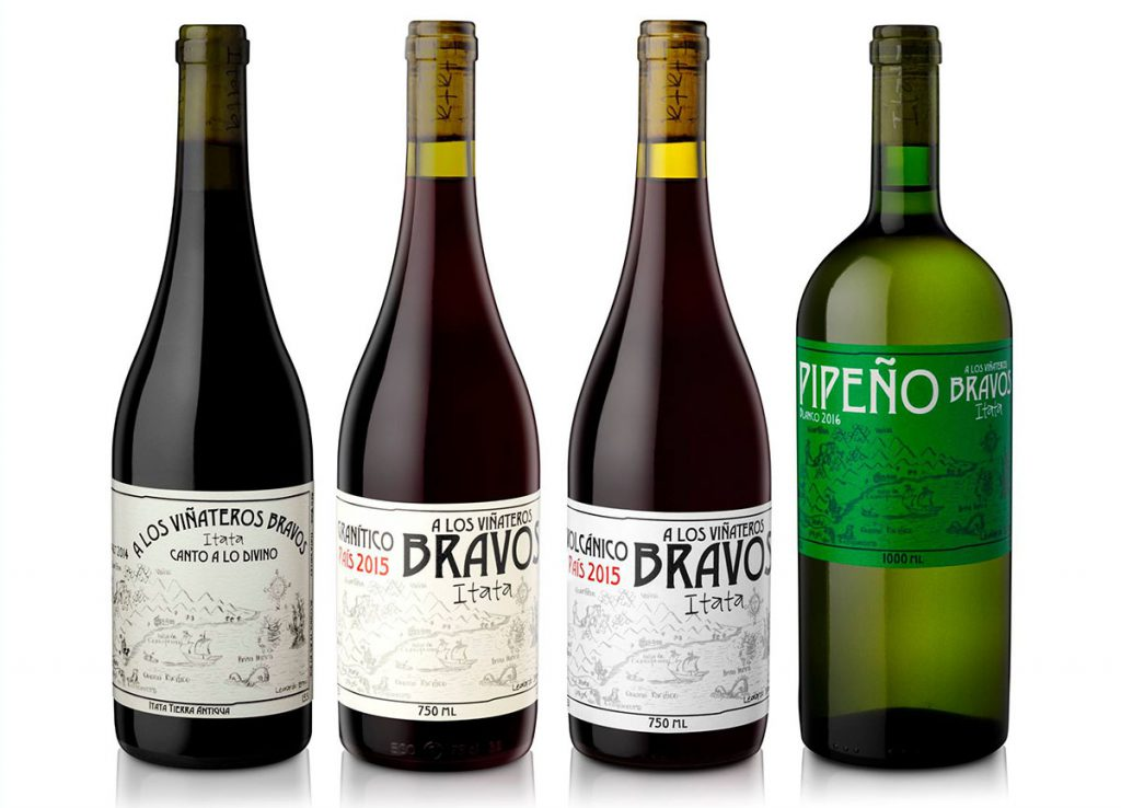 three bottles of red wine and a 1-litre bottle of white Pipeno wine